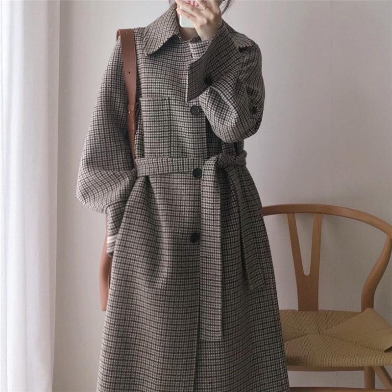 HziriP Spring Warm Houndstooth Chic Woolen Streetwear Belt 2020 Sashes Coat Women Fashion Female All Match Overcoat Plus Coats