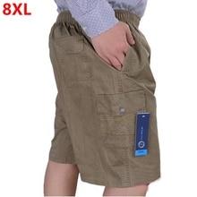 كبيرة الحجم الرجال الصيف السراويل غير رسمية حجم كبير فضفاض منتصف العمر المتضخم القطن 8XL 7XL 6XL حجم كبير 11XL 12XL الرجال السراويل