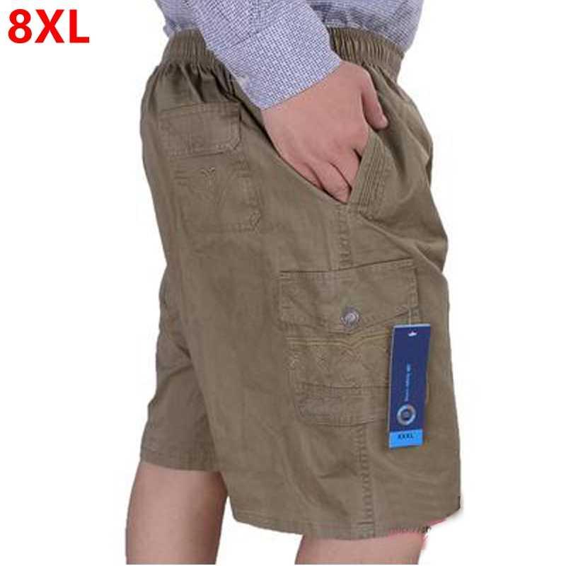 Büyük boy erkek yaz rahat şort artı boyutu gevşek orta yaşlı büyük boy pamuklu 8XL 7XL 6XL büyük boy 11XL 12XL erkek şort