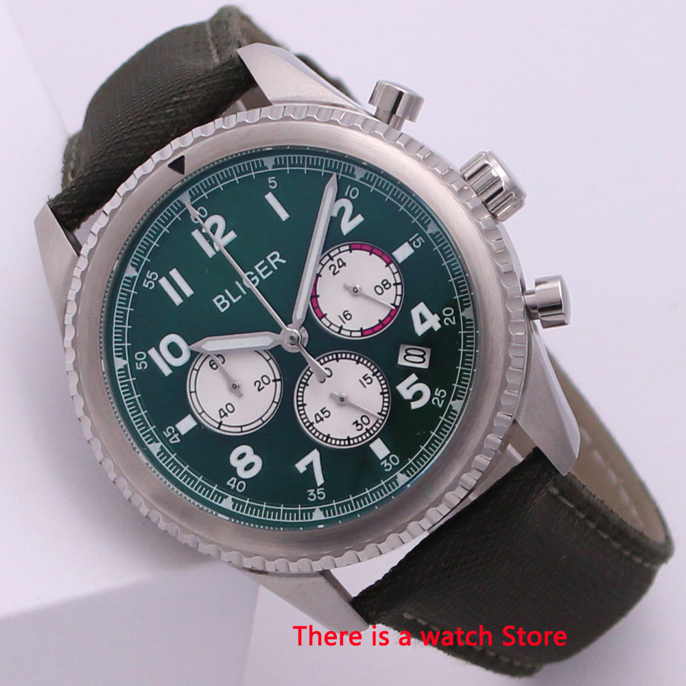 Bliger 45mm Quartz Watch Chronograph Date Function Rotating Bezel 24 Hours Luxury Brand Sport Fashion Leather Strap Men Watch