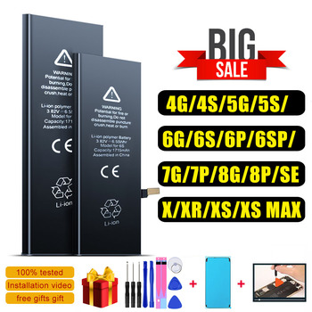 High quality battery for iphone 6 6S 5S 4 4S 5 5C SE 7 8 Plus X XR XS Max battery durable batteries feel tool pinzheng high capacity phone battery for iphone 6s 6 7 8 plus x replacement battery for iphone 5 5s 5c se xr xs max batterie