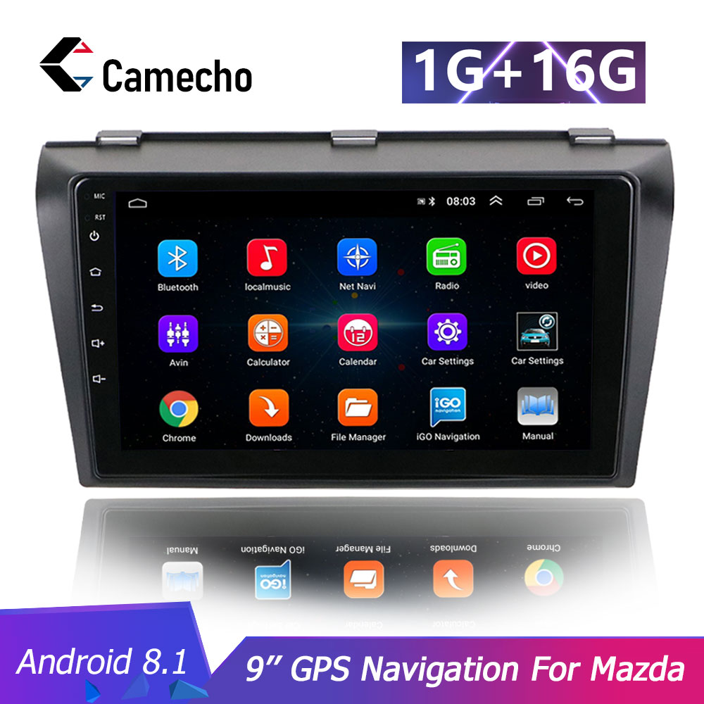 Camecho Android 8.1 Car <font><b>Multimedia</b></font> GPS Player 2 din Car Radio DVD Player 9'' HD 1G 16G WIFI GPS Navigation For <font><b>Mazda</b></font> <font><b>3</b></font> 2004-2009 image