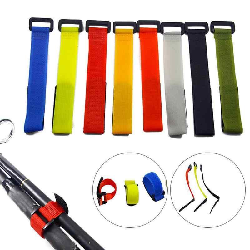 Herbruikbare Hengel Gebonden Strap Button Strap Bands Sluiting Haak Lus Kabel Cord Ties Houder Riem Outdoor Vissen Tools TSLM1