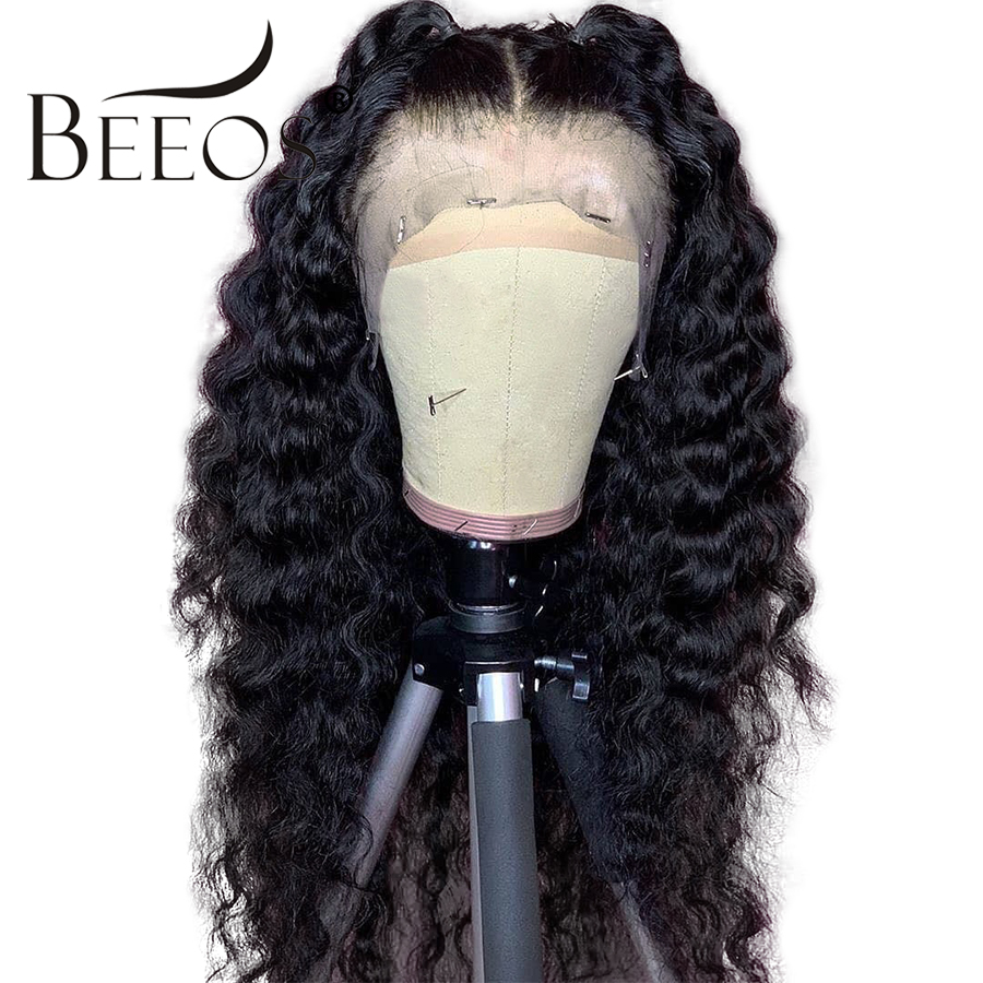 Beeos Pre Plucekd Hairline Deep Wave Full Lace Human Hair Wigs Pre Plucked Peruvian Remy Wig For Black Women Free Part Braided