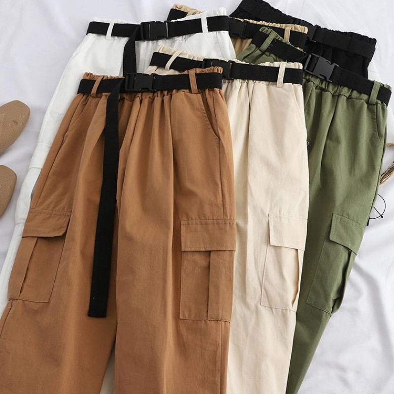 Cargo Pants Women Joggers Harajuku Pants For Women Streetwear Casual Trousers With Belt High Waist Korean Sweatpants