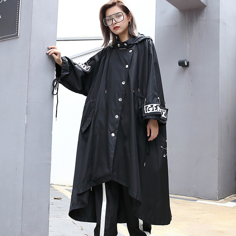 Image 2 - XITAO Spliced Plus Size Black Trench For Women Tide Long Print  Streetwear Hoodie Casual Female Wide Waisted Coat 2019 ZLL1100Trench