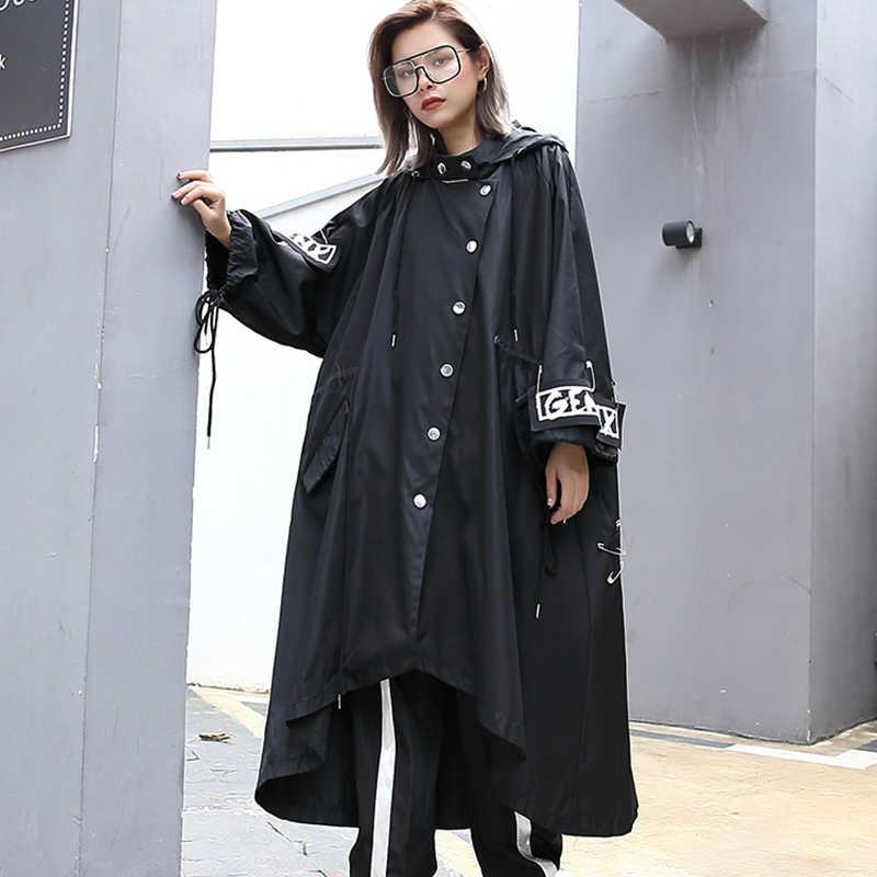 XITAO eklenmiş artı boyutu siyah siper kadınlar için gelgit uzun baskı Streetwear Hoodie Casual kadın geniş belli ceket 2019 ZLL1100