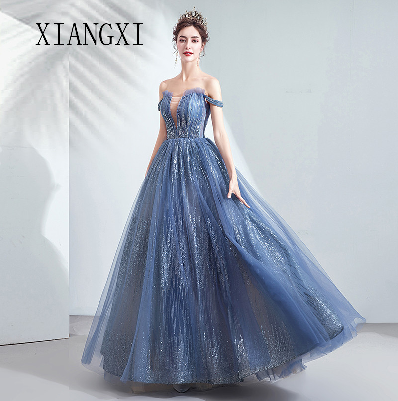 Vestido De Festa Navy Blue Evening Dress 2019 A-Line Off The Shoulder Pleat Evening Dresses Long Prom Dresses Formal Gowns