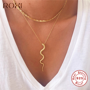 ROXI Genuine 925 Sterling Silve Snake Pendant Necklace Women Gifts Punk Style Charm Gold Choker Necklace Long Statement Jewelry