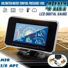4 в 1 ЖК-дисплей Автомобильный цифровой сигнализатор вольтметр давления вольт температура воды масло давление датчик температуры топлива Датчик 12 В/24 В