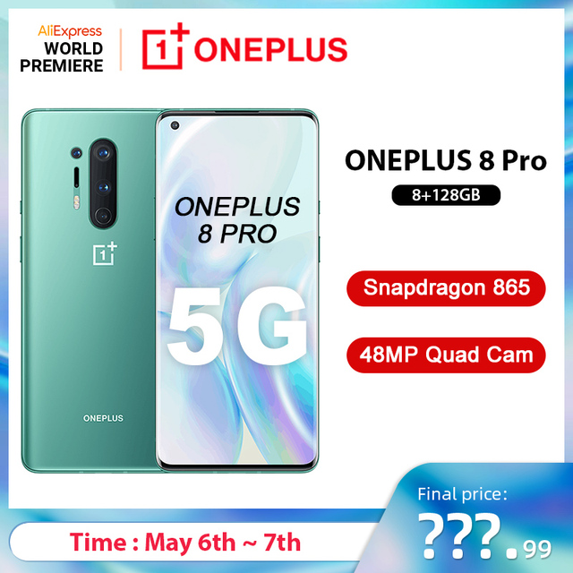 $ US $829.99 Global Rom Oneplus 8 Pro 5G Smartphone Snapdragon 865 8G 128G 6.87'' 120Hz Fluid Display 48MP Quad 513PPI 30W Wireless Charging
