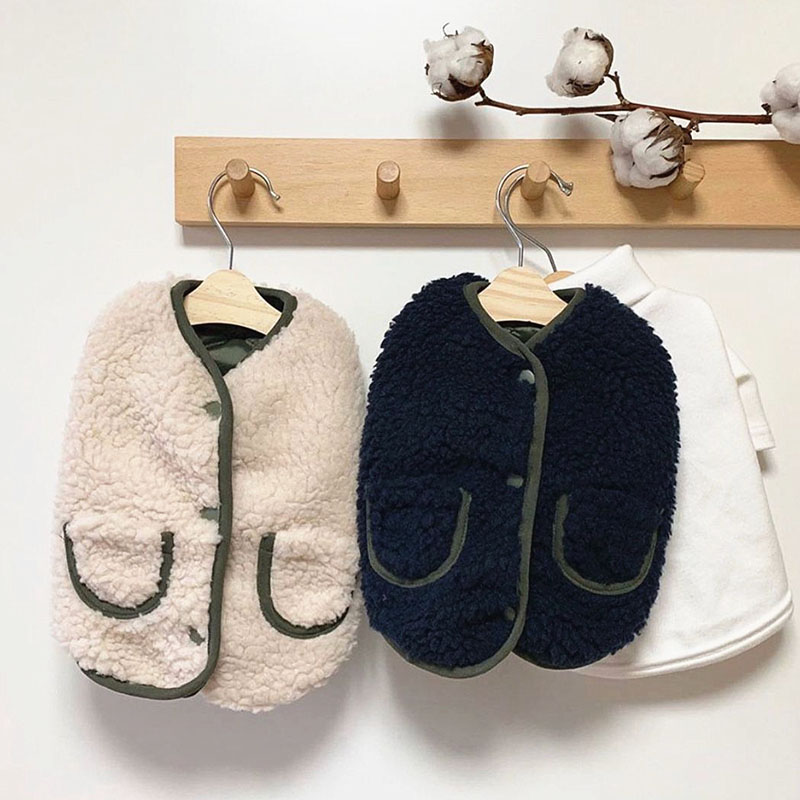 9.73US $ 50% OFF Winter Dog Clothes Corduroy Plush Coat Send Scarf Thickened Pet Cotton Clothes For ...