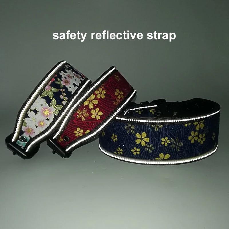1Pc Adjustable Reflective Big Dog Collar with Buckle