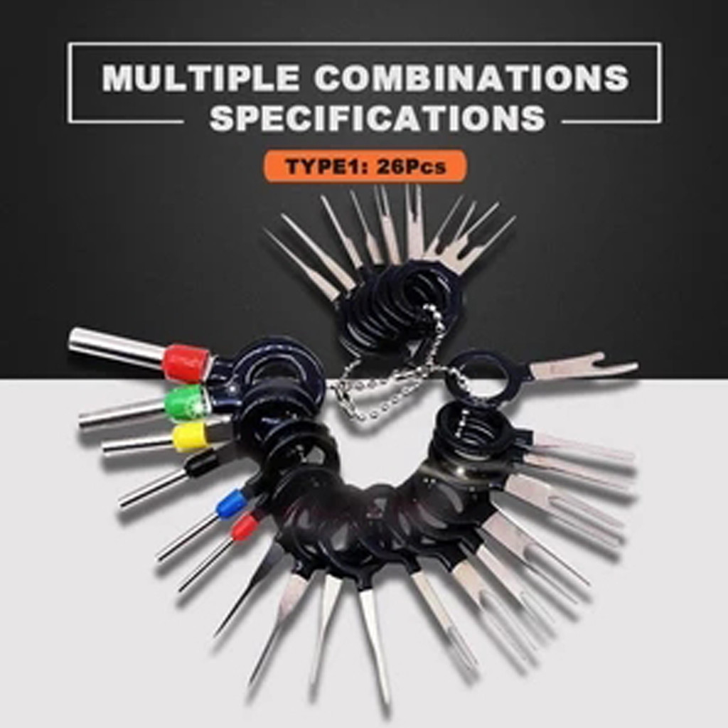 26Pcs Automotive Plug Terminal Remove Tool Set Key Pin Car Electrical Wire Crimp Connector Extractor Kit Accessories^30
