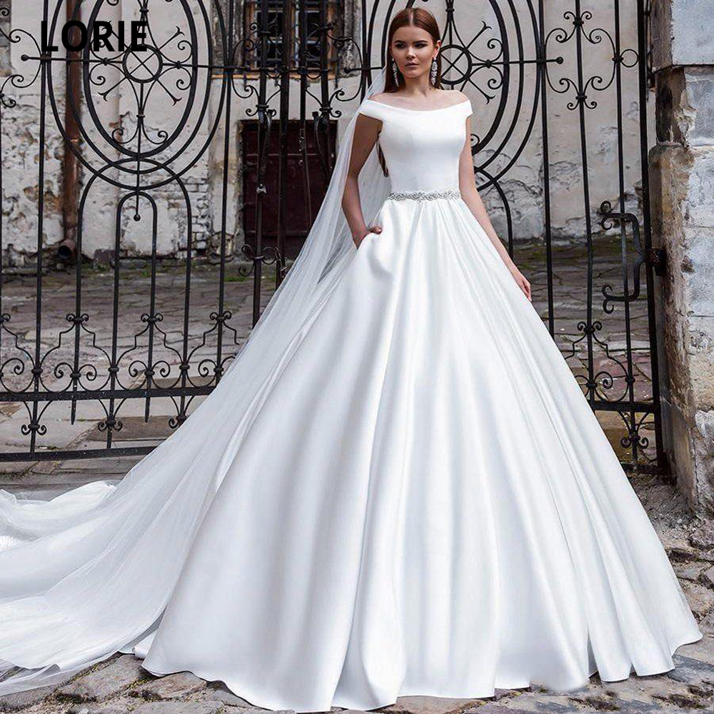 Elegant Satin A Line Wedding Dresses With Beaded Sash 2020 Off Shoulder V Neck Floor Length Bridal Gowns With Pockets Backless Buy At The Price Of 85 00 In Aliexpress Com Imall Com,Stores To Buy Dresses For A Wedding