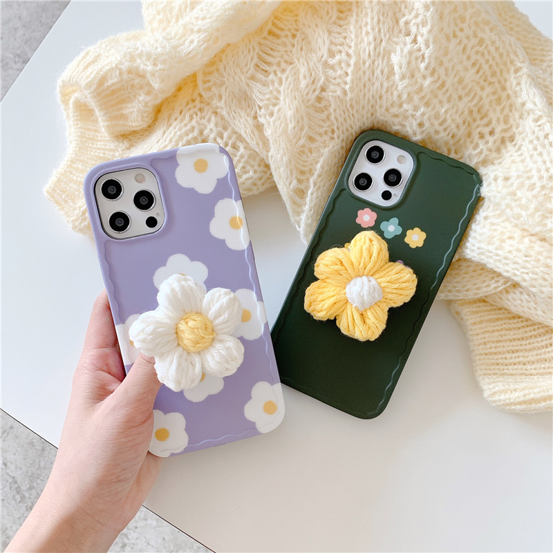 3D Flower Grip Stand Holder Phone Case For Iphone 12 Pro 11 XR SE20 XS MAX 7 8 Plus Fashion Push Soft Silicone Cover Fundas