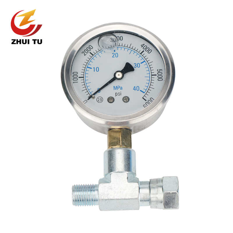 1PC High Pressure Airless Sprayer Pressure Gauge Tee Pipe Coupling Barometer Paint Spraying Machine Pressure Display Universal