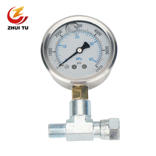 1PC High Pressure Airless Sprayer Pressure Gauge Tee Pipe Coupling Barometer Paint Spraying Machine Pressure Display Universal