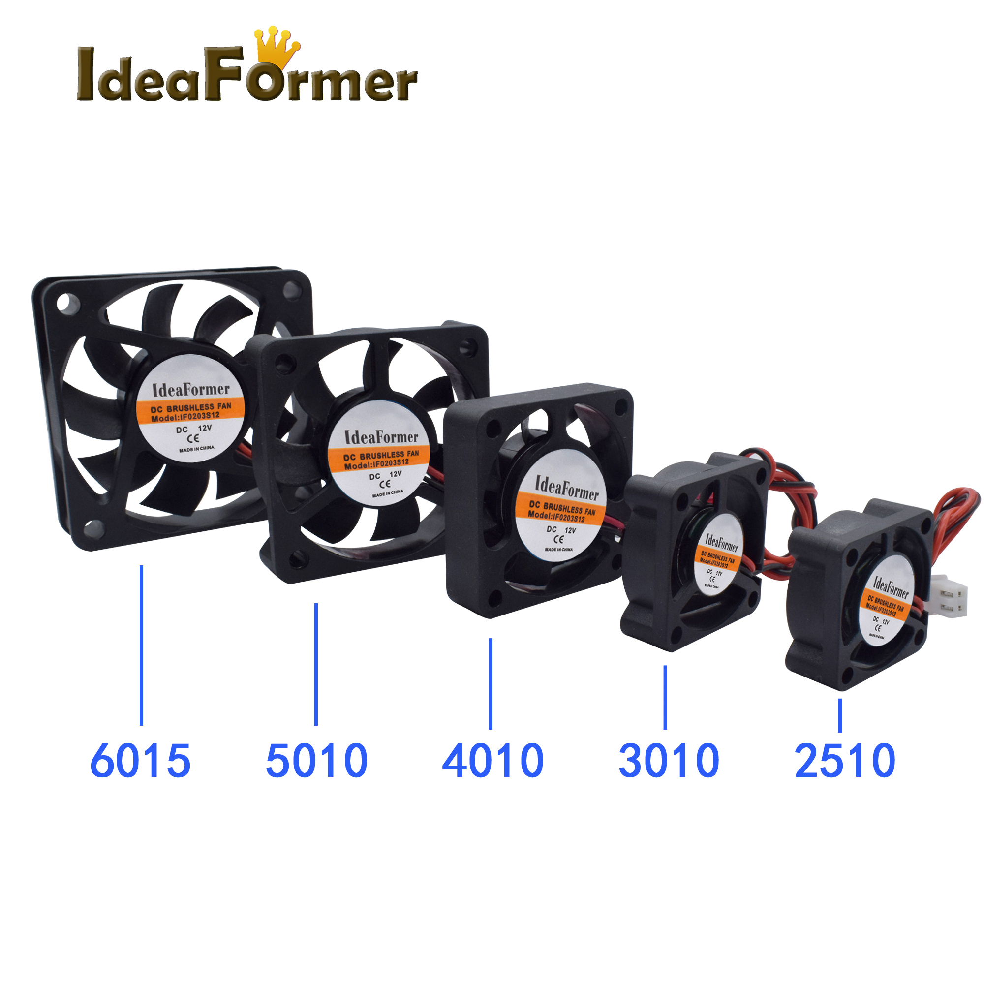 3D Printer Parts 2510/3010/<font><b>4010</b></font>/5010/6015mm 3D Printer Extruder Cooler <font><b>Fan</b></font> DC 5/12/<font><b>24V</b></font> With 2Pin Dupont Wire Black Plastic image