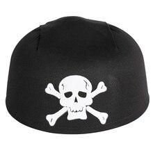Черная пиратская шляпа с белым черепом для Хэллоуина, аксессуары для костюмированной вечеринки, шапки унисекс для взрослых