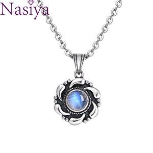 Натуральный лунный камень 925 серебряные ювелирные изделия подвески ожерелья форма кайта для женщин мужчин винтажные Модные женские Подвес...
