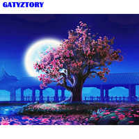 GATYZTORY, без рамки, персиковый цвет, сделай сам, краска по номерам, пейзаж, винтажная настенная краска, Акриловая Краска на холсте для гостиной