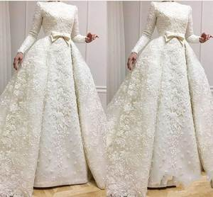 Wedding-Dresses Beading Bridal-Gowns Appliques Customized Muslim Full-Sleeves Plus-Size
