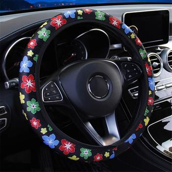 Car Steering Wheel Cover Skidproof Auto Steering- Wheel Cover Anti-Slip Universal Flower Printing Silk Fabric Car-styling image
