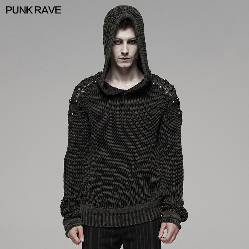PUNK RAVE Punk Vintage Hooded Black Sweater Steampunk Retro Sweater Halloween Male Casual Fashion Dark Streetwear Pullovers