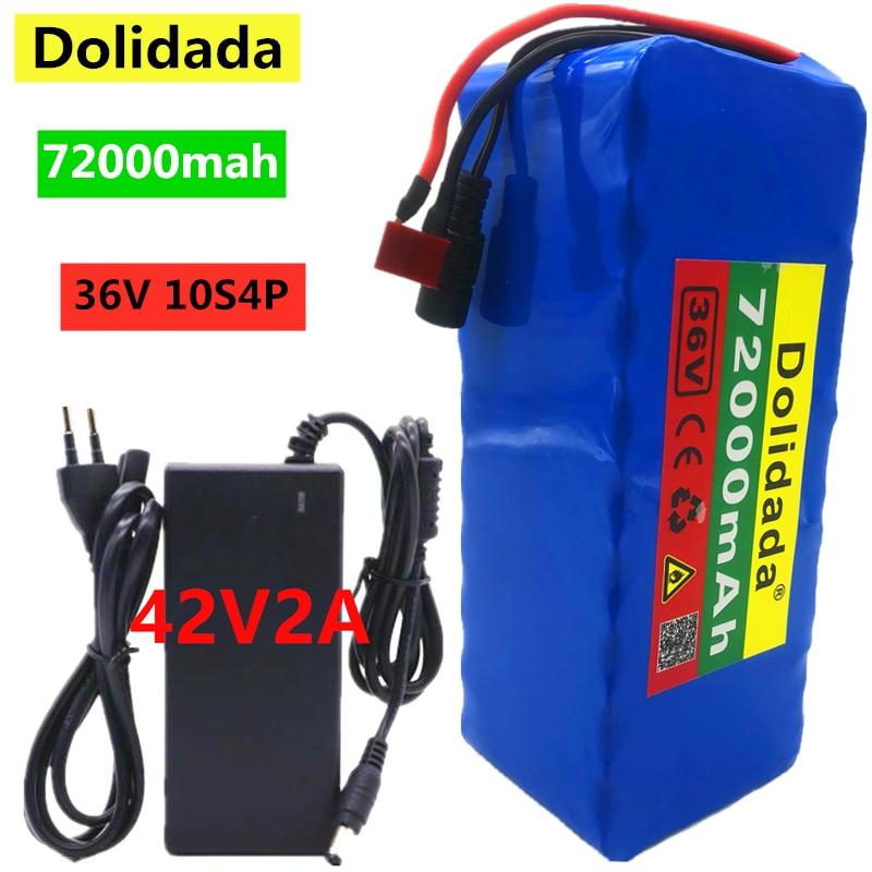 2021 original 36v bateria 10s4p 72ah bateria 500w bateria de alta potência 42v 72000mah ebike bicicleta elétrica bms + 42v2a carregador