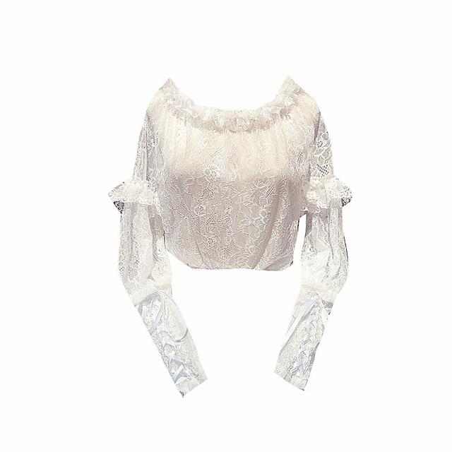 блузка в английском стиле lolita кружевная рубашка с открытыми фотография