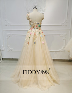 Image 2 - New 2019 Evening Dresses Long with Slit One Shoulder Beaded Flower Evening Gown Formal Party Dress Vestido de Fiesta de noche