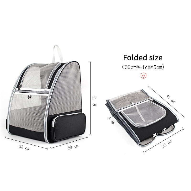 Foldable Pet Cat Carrier Bag Portable Breathable Mesh Zipper Double Shoulder Backpack For Small Dog Cat Travel Hiking Supplies 4