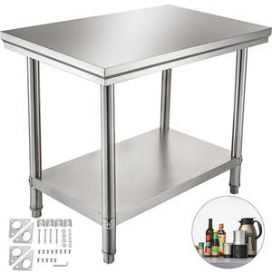 Commercial Stainless Steel Catering Work Table Bench Kitchen Worktop 60X90cm
