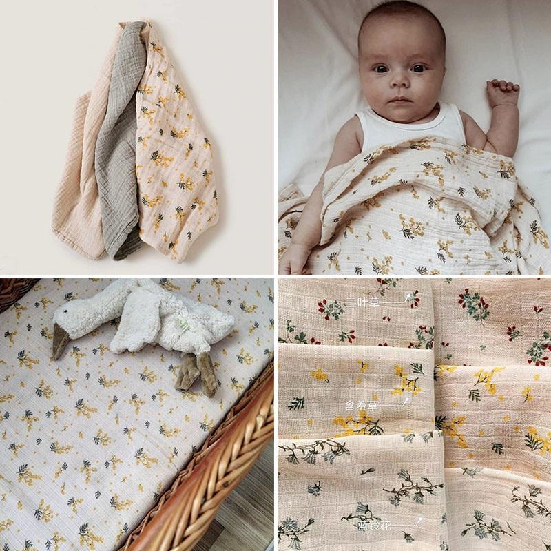 120*120cm G & F dziecko bawełniane koce miękki kwiat wzór w stylu Vintage owijka dla niemowląt karmienie śliniaczek ręcznik szalik dziecko rzeczy