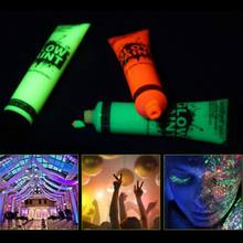 Hot 7 Pcs 25ml UV Glow Blacklight Luminous Face Body Paint Neon Fluorescent Pigment pigment powder(China)