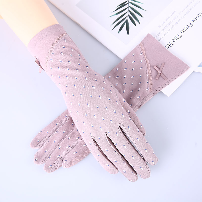 Women's Mid-long Style Driving Sunscreen Gloves  Summer Slip-proof Touch Screen Breathable Cotton Gloves