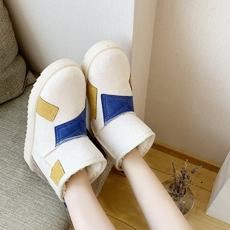 Snow boots female 2019 winter new suede color matching boots thickened low-heeled flat non-slip warm women's boots 76