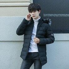 Одежда с хлопковой подкладкой, мужское модное плотное пальто с меховым воротником, стиль, Зимняя Повседневная теплая куртка с капюшоном в Корейском стиле