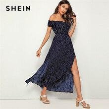SHEIN marine épaule dénudée fronces froncé fendu cuisse robe à pois femmes été Fit et Flare taille haute Boho Maxi robes