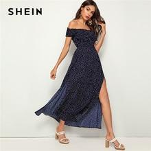 SHEIN vestido de verano de lunares con los hombros al aire, bohemio