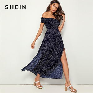 Image 1 - Shein 네이비 오프 숄더 프릴 트림 셔링 스플릿 허벅지 폴카 도트 드레스 여성 여름 피트와 플레어 하이 웨스트 boho 맥시 드레스