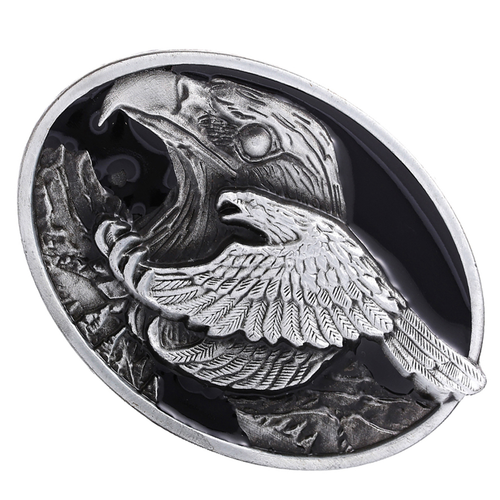 Retro Vintage Classic Mens Eagle Engraved Belt Buckle Texas Rodeo Metal Alloy Western Cowboy