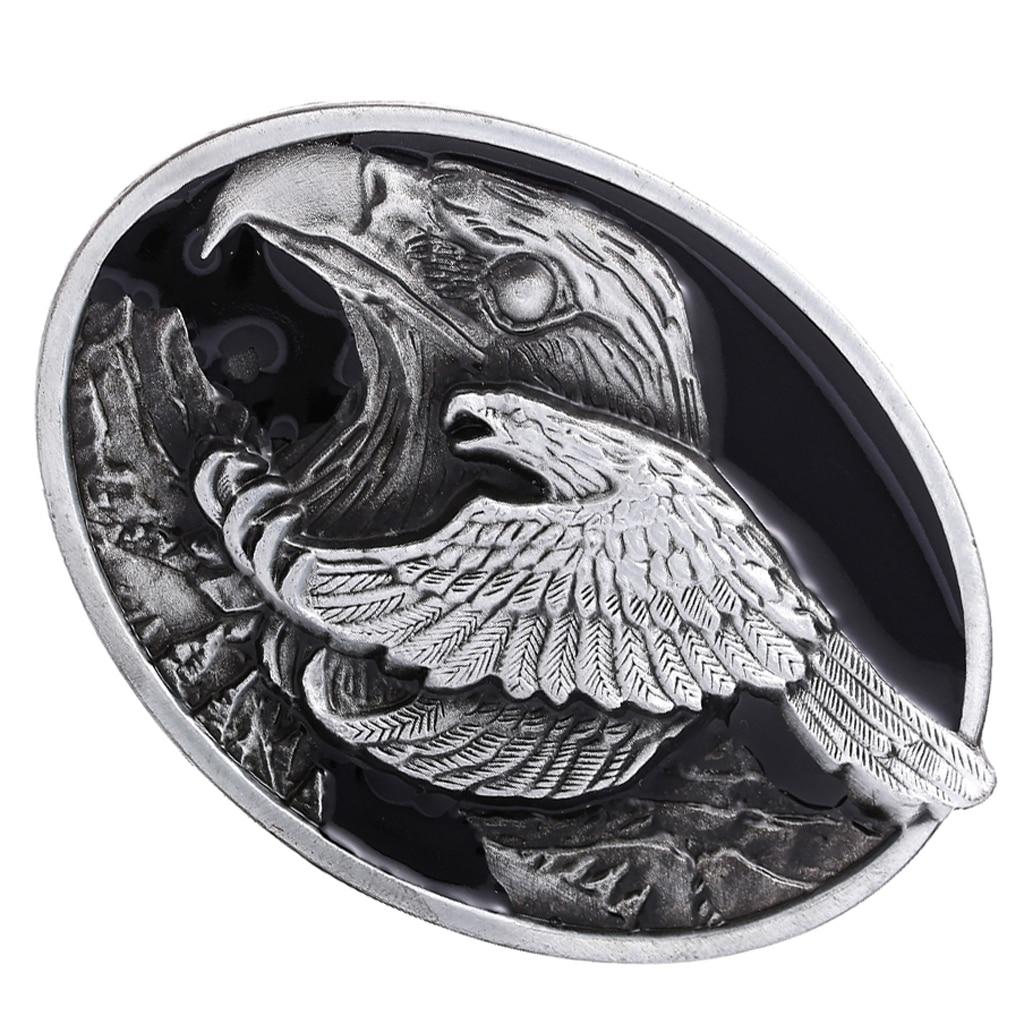 Bronze Carved 3D Flying Eagle Pattern Alloy Belt Buckle for Men Cowboy Jean
