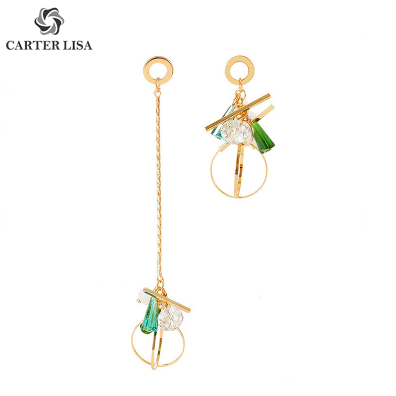 CARTER LISA Colorful Long Crystal Circle Chain Pendant Drop Dangle Statement Earings For Women Boho Fashion Jewelry Brinco Gifts