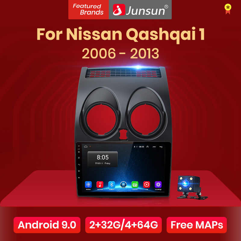Junsun V1 Android 9,0 2 ГБ + 32 ГБ DSP автомобильный Радио Центральный Multimidia видео плеер gps для Nissan Qashqai 1 J10 2006-2013 2 din dvd