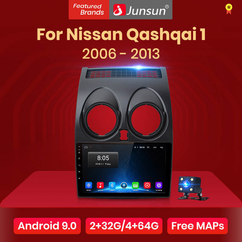 Junsun V1 Android 9,0 2GB + 32GB DSP Radio de coche Central Multimidia reproductor de Video GPS para Nissan Qashqai 1 J10 2006-2013 2 din dvd