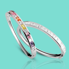 Genuine Womens Original 925 Sterling Silver Bracelet Color Cubic Zircon Bracelet Shine Fine Jewelry Girl Solid Silver Bangle