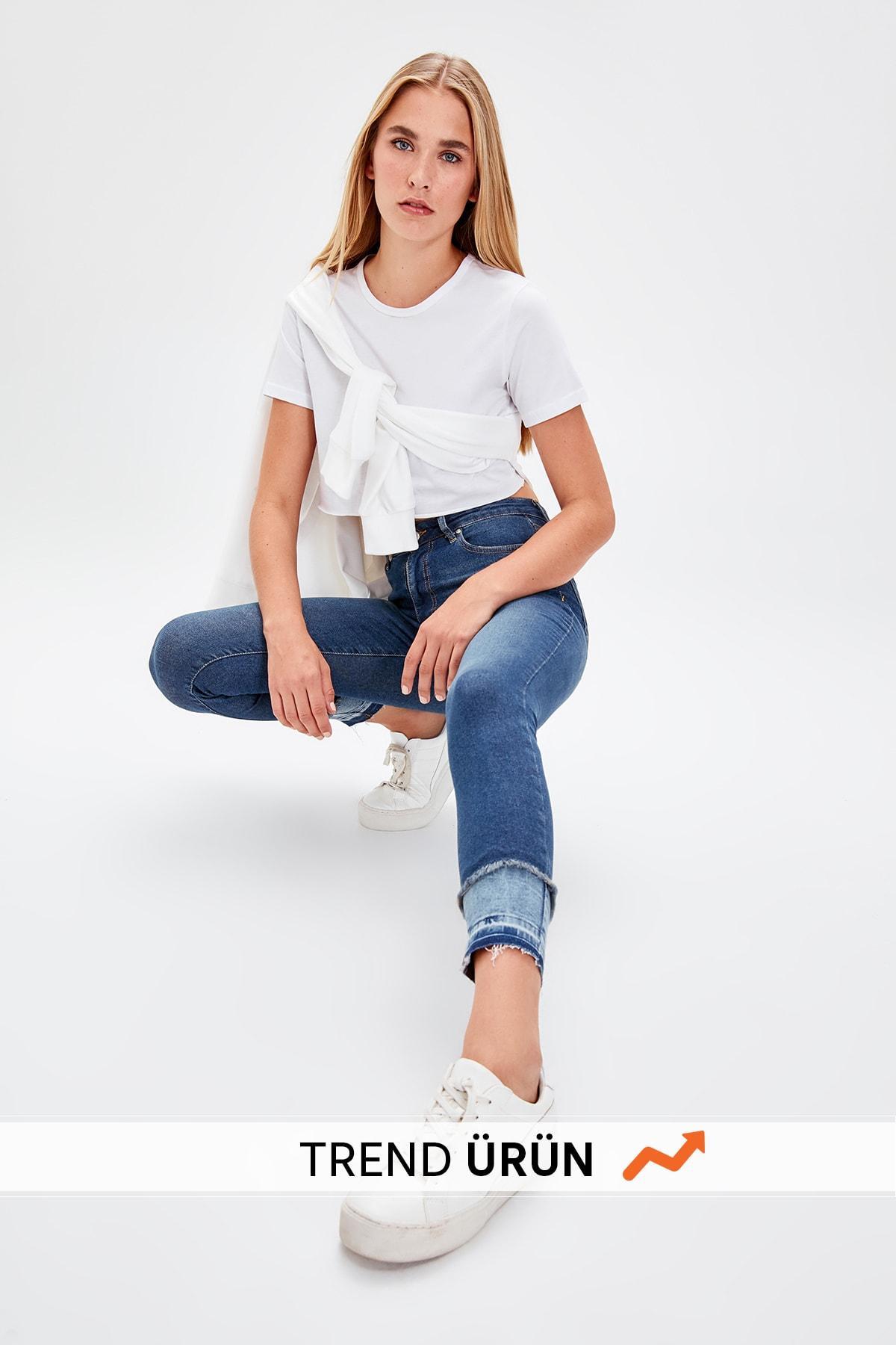 Trendyol Mavi Trotting Detailed High Waist Skinny Jeans TWOAW20JE0071