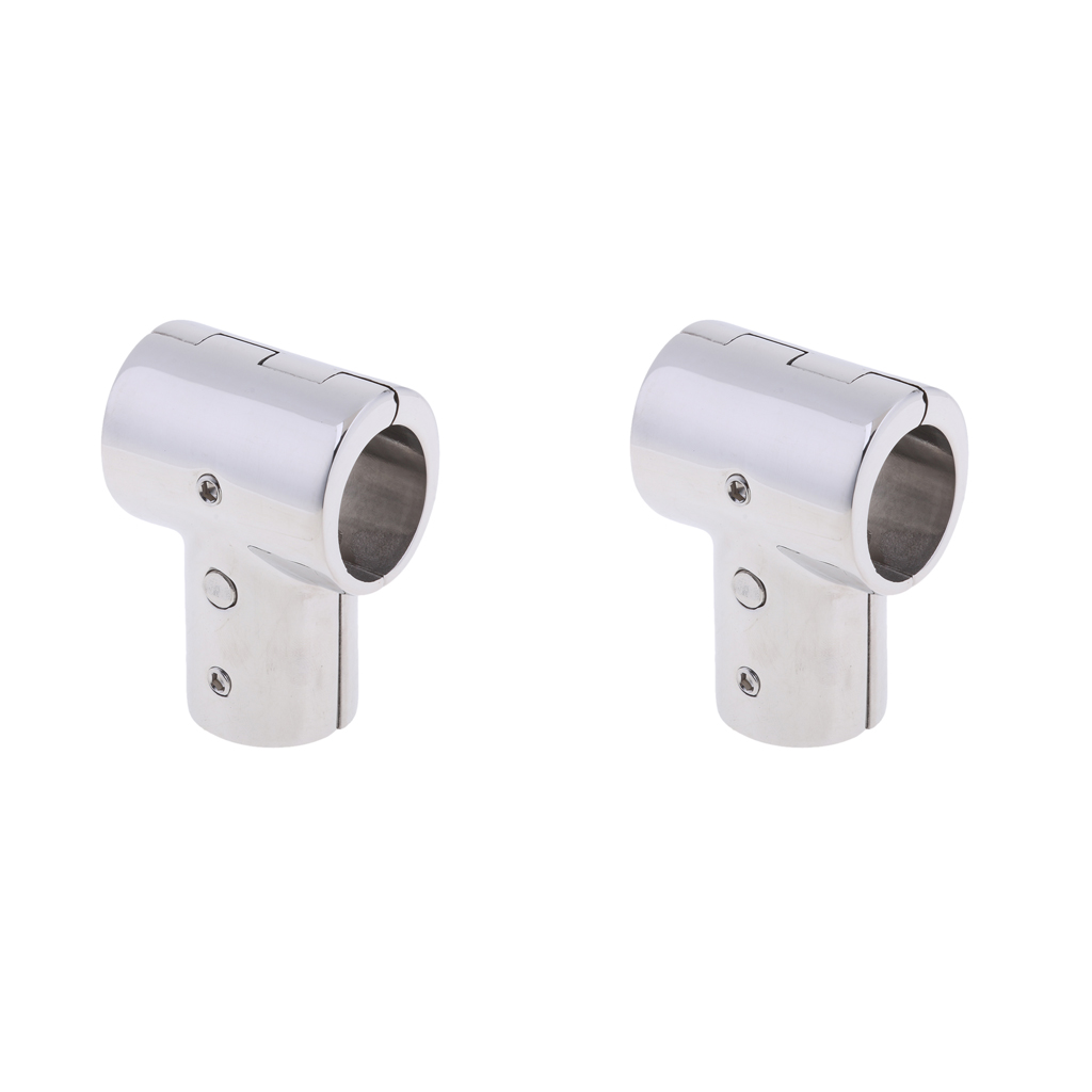 2x 316 Marine-Grade Stainless Steel 90 Degree Boat Hand Rail Fitting T/Tee Split Hardware (1-inch/25mm)